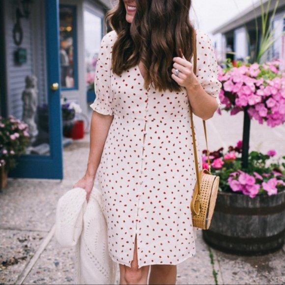 Madewell Clover Strawberries Button Silk Dress